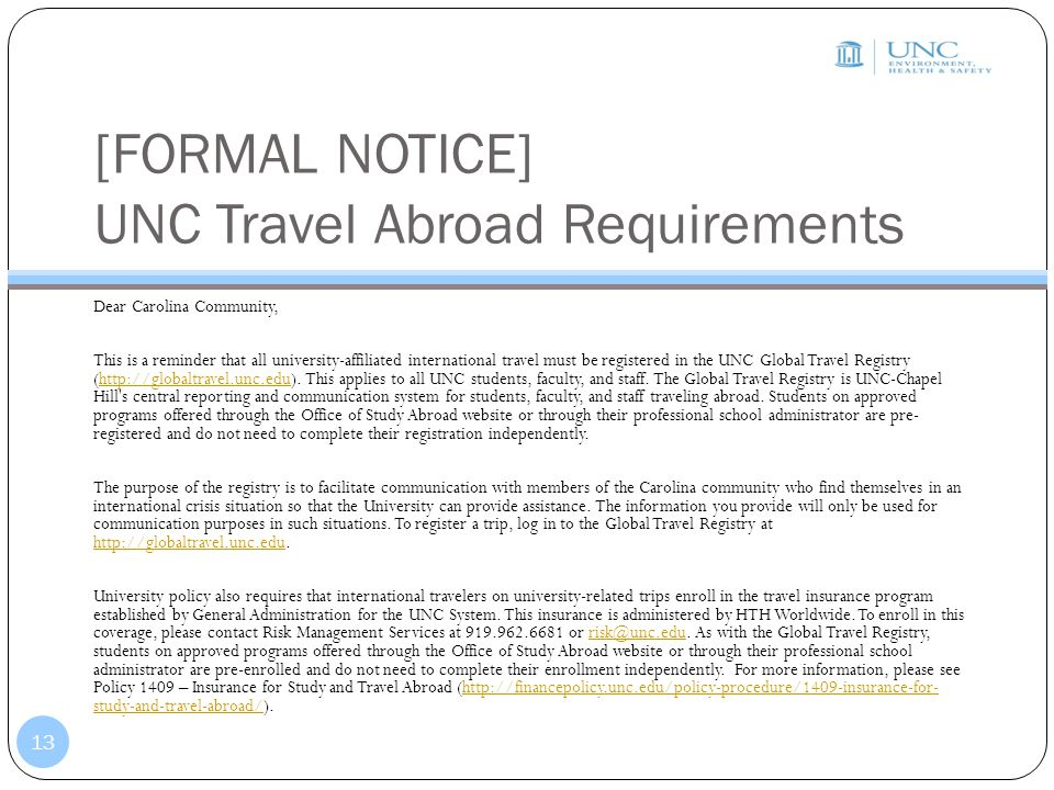 [FORMAL NOTICE] UNC Travel Abroad Requirements